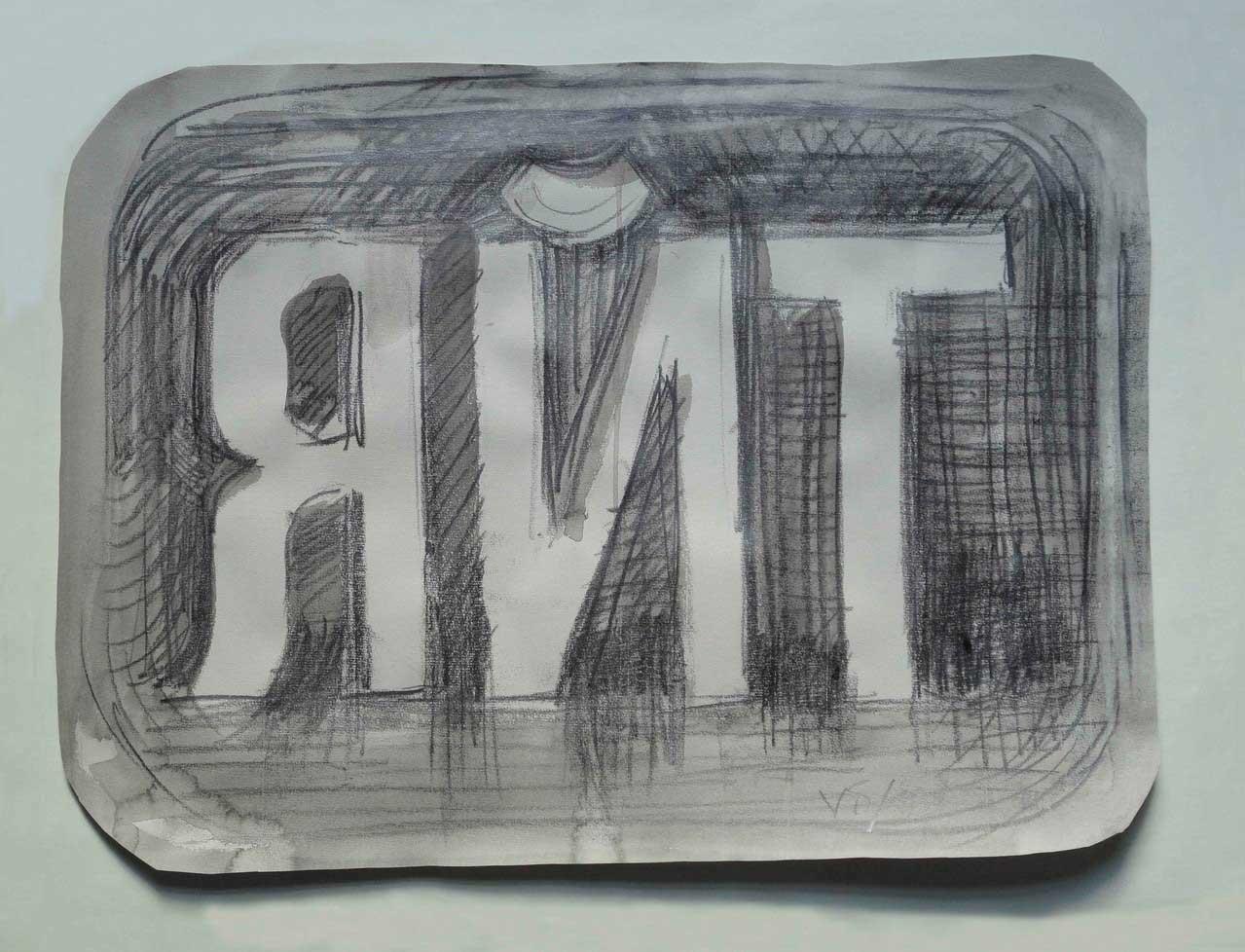 o.T. aus der Reihe Bildersatz, 2013, Bleistift und Tusche auf Tonpapier