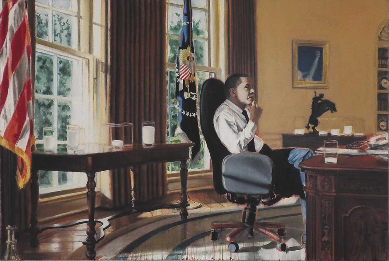 Obama, Milch trinkend - 2014 - Öl auf Lwd - 140x212cm