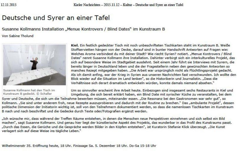 Beitrag in den Kieler Nachrichten