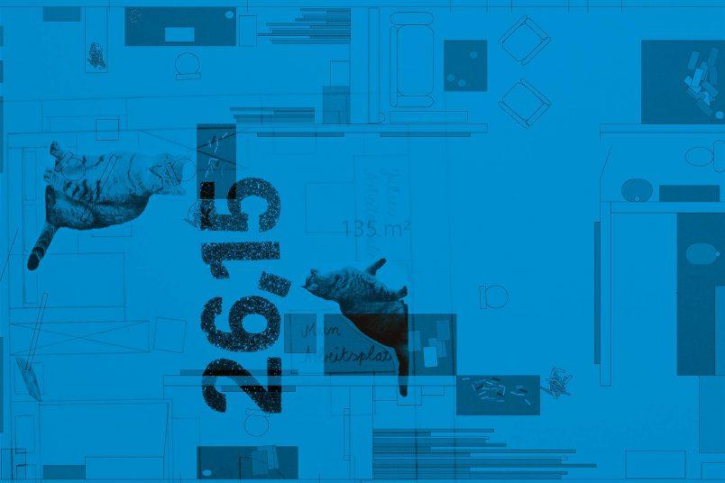 Einladungskarte mit den Grundrissen der beiden Ateliers