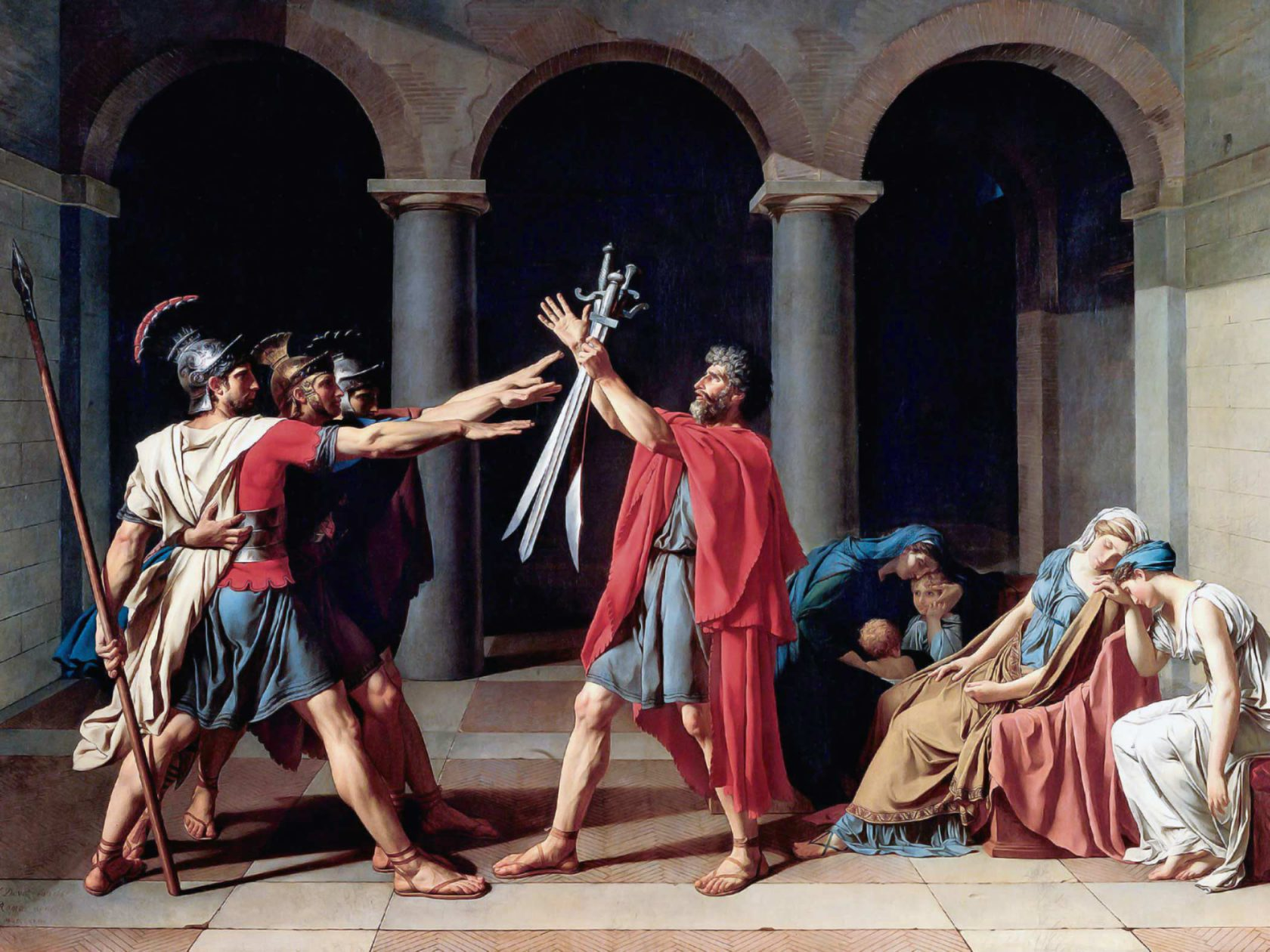 Titel: 'Der Schwur der Horatier', Louis Boilly, Jacques-Louis David, 1784 [Public domain], via Wikimedia Commons