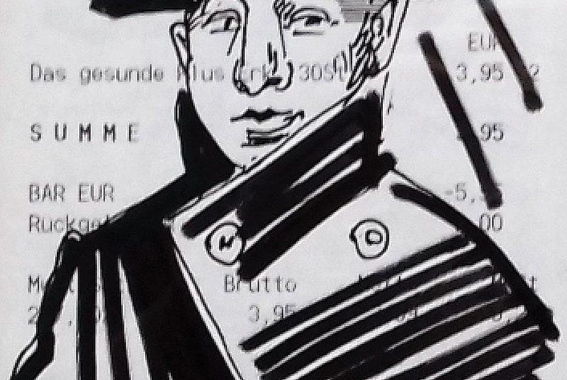 Zeichnung auf Kassenbon