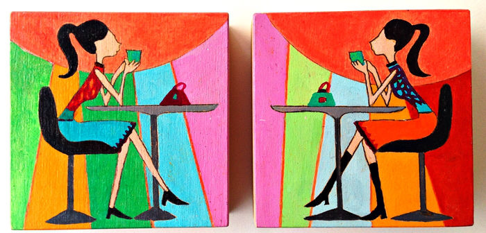 Uta Kathleen Kalthoff, chill-out-girls, Pigmente auf Holz, 10 x 10 x 3 cm, € 140,00