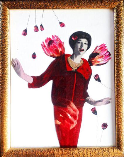 Uta Kathleen Kalthoff, Miss Happy Day, 2020, Collage, koloriert auf Papier, 27 x 21 cm m.R., € 150,00