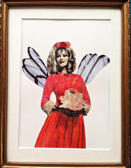 Uta Kathleen Kalthoff, Glücksfee, Collage, koloriert auf Papier, 25 x 20 cm m.R., € 120,00