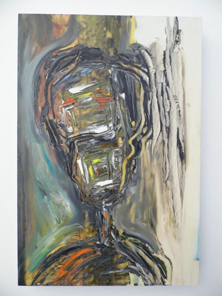 Christof Klemmt, 'homo plasticus', 2017, Öl auf Foto (Fotoübuermalung) auf Holz, 45 x 30 x 4 cm, € 140,00