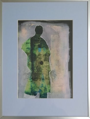 (Figur) 30x40 cm, Acryl / Monotypie, inkl. Passepartout u. Rahmen € 150,00