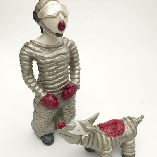 1. Astronautin mit Hund, Keramik, H 37 cm, € 340,00