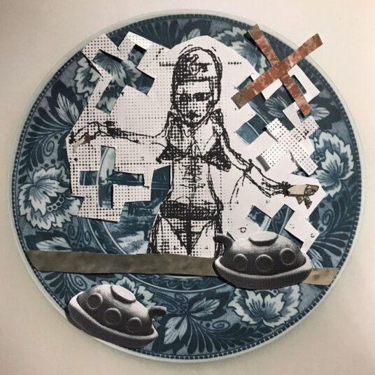 6.1 Wandteller, Vinyl, Collage, 100 cm, € 300,00